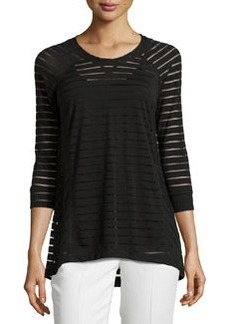 Joan Vass Republic Sheer-Stripe Raglan Tunic, Black