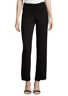 Joan Vass Republic Shirred-Waist Wide-Leg Pants