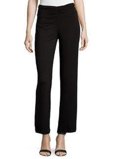 Joan Vass Republic Shirred-Waist Wide-Leg Pants, Black