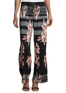 Joan Vass Striped Floral-Print Wide-Leg Pants, Black/Coral
