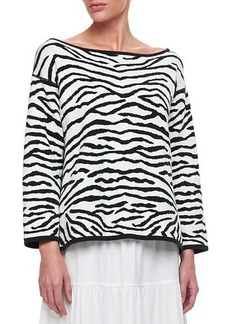 Joan Vass Reversible Animal Print Pullover Sweater, Women's