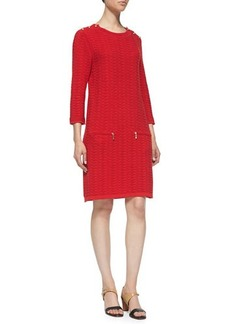 Joan Vass Sand-Stitched Zip-Pocket Shift Dress