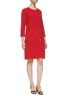 Joan Vass Sand-Stitched Zip-Pocket Shift Dress, Petite