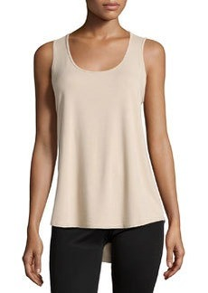 Joan Vass Scoop-Neck High-Low Tank, Beach Beige
