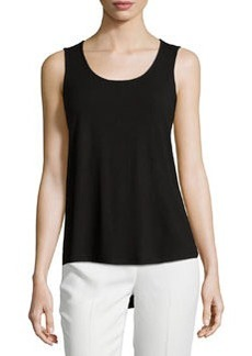 Joan Vass Scoop-Neck High-Low Tank, Black