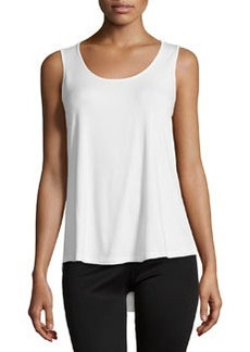 Joan Vass Scoop-Neck High-Low Tank, White Whisper