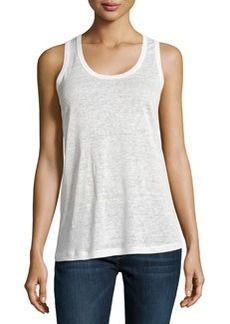 Joan Vass Scoop-Neck Linen Tank, Crescent Ivory