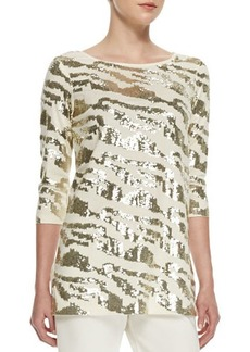Joan Vass Sequined Animal Tunic, Ivory