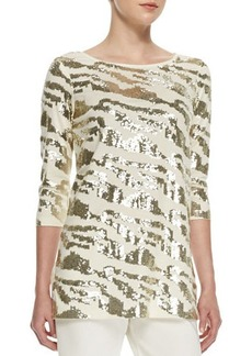 Joan Vass Sequined Animal Tunic, Ivory, Women's