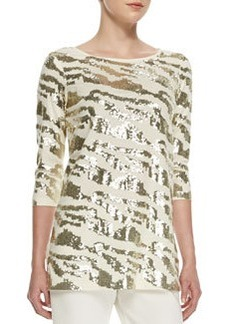 Joan Vass Sequined Animal Tunic, Ivory, Women's