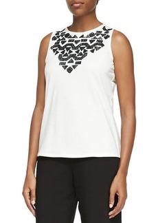 Joan Vass Sequined Sleeveless Shell, Women's