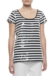 Joan Vass Sequined Striped Short-Sleeve Tee, Petite