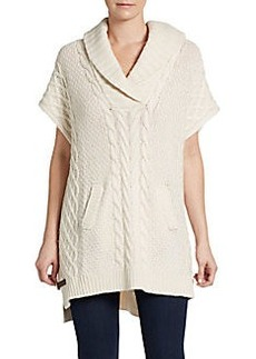 Joan Vass Shawl Cable-Knit Poncho