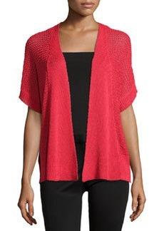 Joan Vass Short-Sleeve Open-Front Cardigan, Samba Red
