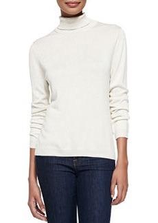 Joan Vass Silk-Cashmere Long-Sleeve Turtleneck, Ivory