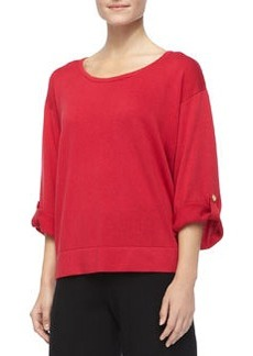 Joan Vass Silk Cashmere Pullover Top, Petite, Ivory
