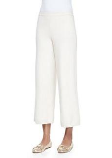 Joan Vass Silk-Cashmere Wide-Leg Pants, Ivory