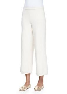 Joan Vass Silk-Cashmere Wide-Leg Pants, Ivory, Women's