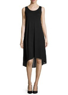 Joan Vass Sleeveless High-Low Combo Dress, Black