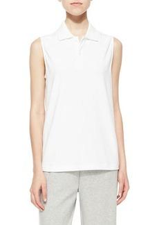 Joan Vass Sleeveless Polo Top, White, Women's