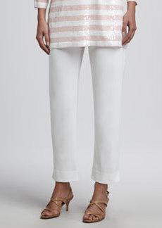 Joan Vass Slim Ankle Pants, Classic