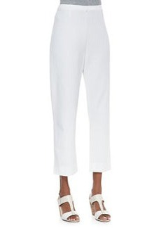 Joan Vass Slim Ponte Ankle Pants, White