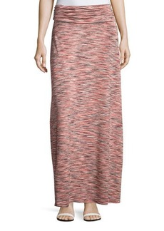 Joan Vass Space-Dyed Ruched Maxi Skirt