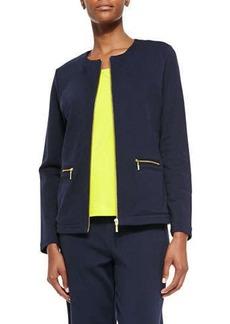 Joan Vass Stretch Interlock Zip-Front Jacket, Petite