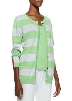 Joan Vass Striped Button-Front Cardigan, Petite