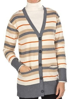 Joan Vass Striped Cardigan Sweater - Cotton (For Women)