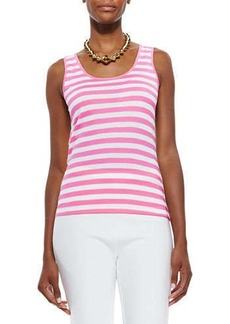 Joan Vass Striped Cotton Tunic, Azalea/White, Petite