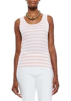Joan Vass Striped Cotton Tunic, Azalea/White, Women's