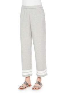 Joan Vass Striped Cropped Pants, Heather Gray, Women's