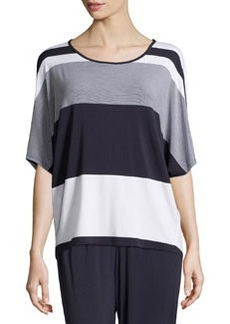 Joan Vass Striped Dolman High-Low Top, Navy Mariner/White Mariner