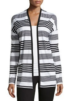 Joan Vass Striped Draped Cardigan, White Whisper Combo