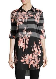 Joan Vass Striped Floral-Print Long Blouse, Black/Coral