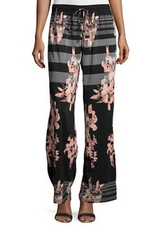 Joan Vass Striped Floral-Print Wide-Leg Pants