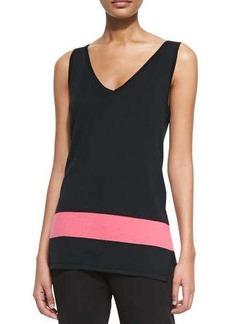 Joan Vass Striped-Hem Sweater Tank