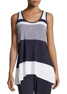 Joan Vass Striped High-Low Scoop-Neck Tank, Navy Mariner/White Mariner