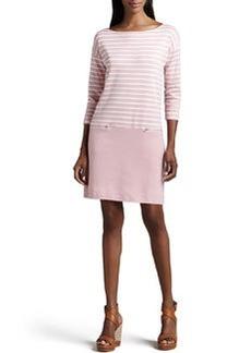 Joan Vass Striped Interlock Dress, Women's