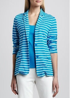 Joan Vass Striped Knit Two-Button Jacket, Petite