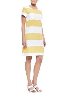 Joan Vass Striped Pique Short-Sleeve Dress