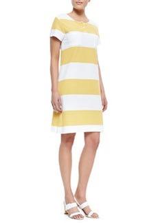 Joan Vass Striped Pique Short-Sleeve Dress, Women's