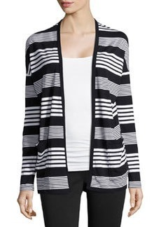 Joan Vass Striped Ruched-Back Cardigan, Black Combo