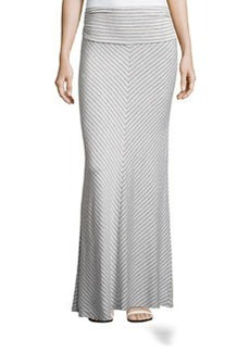 Joan Vass Striped Ruched-Waist Maxi Skirt, City Gray Heather/Multi