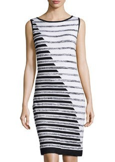 Joan Vass Striped Sleeveless Dress, Black Combo/Brilliant White