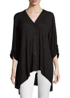 Joan Vass Tab-Sleeve Asymmetric Slub-Knit Top, Black