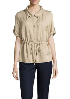 Joan Vass Tab-Sleeve Drawstring Jacket