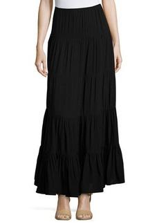 Joan Vass Tiered A-Line Maxi Skirt