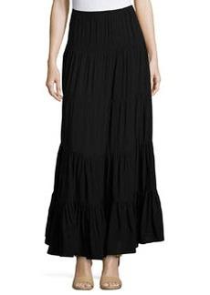 Joan Vass Tiered A-Line Maxi Skirt, Black